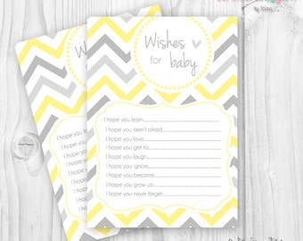 Printable Baby Shower Wishes for Baby chevron yellow and grey