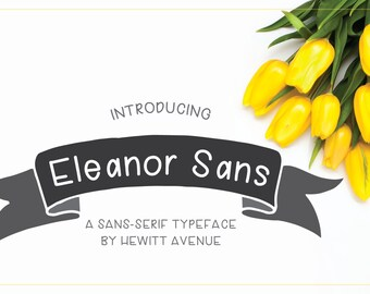 Hewitt Avenue Font Eleanor Sans Serif Font, handwritten font handlettered print font hand lettered hand written personal and commercial use
