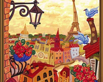 "DIY Bead Embroidery Kit, Bead Embroidery Patterns ""Secrets of Paris"", Beaded Painting, Beaded Embroidery Kit, Embroidery"