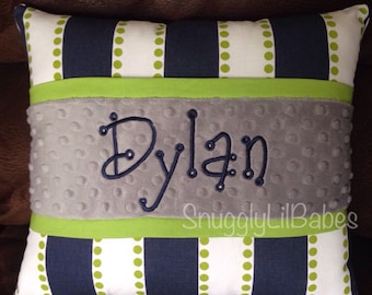 Navy, lime, grey pillow and grey minky personalized pillow cover