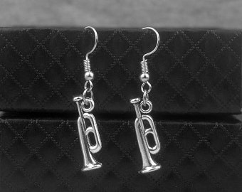 Silver Trumpet Earrings -Trombone Earrings -Music Earrings -Dangle Earrings -Gift For Her