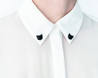 Black cat brooches collar, shirt pins, minimalist jewelry cat lovers