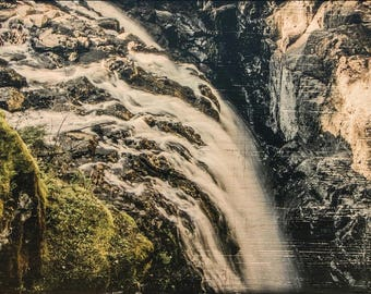 "Into the Abyss Below - Photo transfer on 16"" long x 12"" high (ready to hang) wood board"