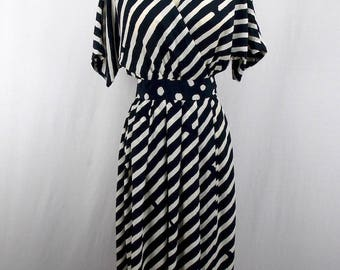 Black and White Wrap Dress by Ronnie Heller