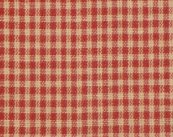 Red Check Fabric | Small Check Fabric | Primitive Red Check Fabric | Woven Cotton Homespun Fabric | Rag Quilt Fabric | Doll Making Fabric