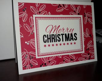 Set of 10 Christmas Cards- Red, White, Gray with foil detail