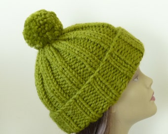 Knit Slouch Hat or Rolled Brim with Pompom and Rolled Brim Warm Wool Blend Winter Hat in Lemongrass - Ready to Ship - Gift for Her