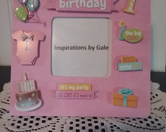 1st. Birthday (girl) Picture Frame