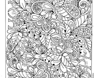 Flowers and Paisleys Coloring Page JPG