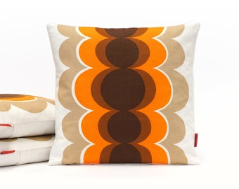 Mid Century Pillow Cover in Brown and Orange 16x16 - 70s Home Decor - Modern Throw Pillow Handmade from Vintage Fabric by EllaOsix