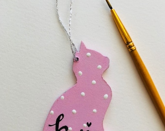 Personalised Cat Kitten Name Plaque, Handmade Home Sign, Hanging Pet Home House Gift.
