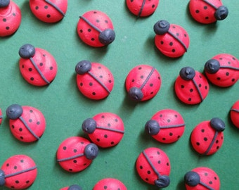 Royal icing ladybugs  -- Made to Order -- Edible handmade cupcake toppers cake decorations (12 pieces)