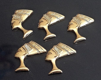 VINTAGE Set of 10 brass stamping Egyptian Queen NEFERTITI filigree Charms Made in USA /M8