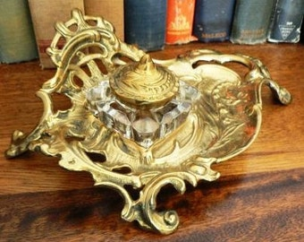 vintage office ...   Victorian style stunning INKWELL BRASS with INK Bottle with Lid Desk  ink well ...