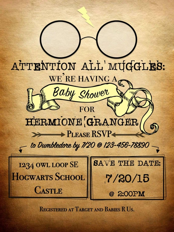 Personalized Harry Potter Theme Invitation ATTENTION ALL