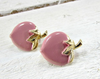 Vintage Scatter Pin Brooches, Pink Enamel Strawberry Brooch Pins, Woodland Spring Garden Cottage Chic Jewelry, 1950s Vintage Costume Jewelry