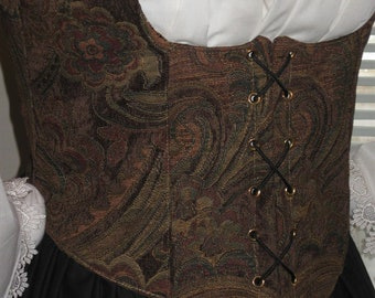 DDNJ Reversible Corset Style Front Lace Underbust Bodice Choose Plus cCustom Made ANY Size Fabrics Renaissance Pirate Anime Wench Costume