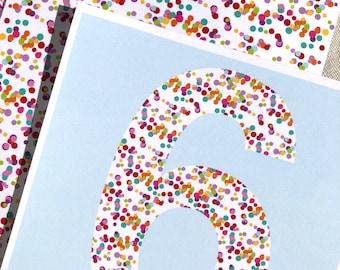 Big # Confetti Invitations