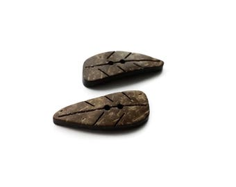 Brown Leaf coconut brown eco friendly Button set of 2