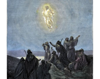 """Print of """"The Ascension"""" watercolor etching from Gustave Doré's Bible Collection"""