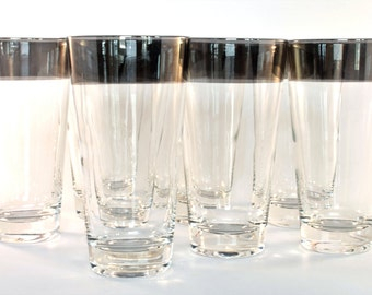 Wide Silver Tone Rimmed Highball Glasses (Set of 8)