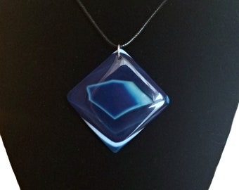 Blue Striped Agate Square Pendant Necklace - Black Cord or Silver Chain - Agate Stone Geode Crystal