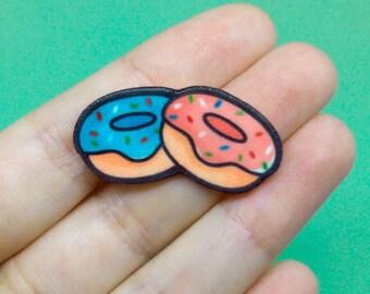 Handmade donuts pin, miniature food brooch, Cute lapel Pin