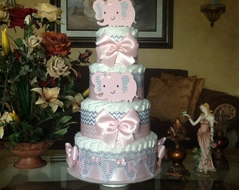 Elephant diaper cake/Baby Girl Elephant diaper cake/Pink and grey elephant baby shower centerpiece/Pink and grey diaper cake