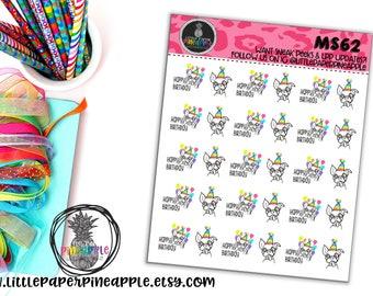 HAPPY BIRTHDAY PUPPY Cake Drunk Planner Stickers - 2 Sizes! | Repositionable Matte Stickers | Ms62/63
