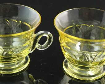 Set of 2, Heisey Empress, Sahara, Footed Cups