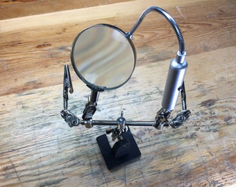 Dual Third Hand with Magnifier and LED Light (54.087)