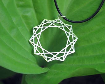 Connectivity Pendant/ Sacred Geometry Necklace/ Decagon Necklace/ Bohemian Jewelry/ Sterling Silver Pendant/ Psychedelic Jewelry