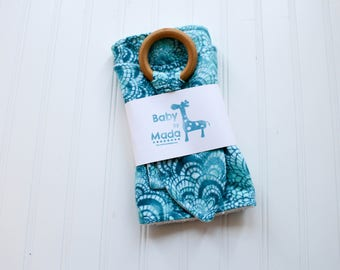 Blue & Teal Swirl Accessory Trio Set - Burp Cloth, Bib, Teething Ring