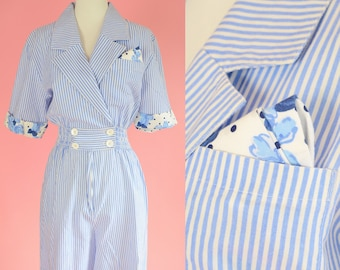Vintage Joan Walters Romper // 80s Shorts, 90s, Blue Stripes, Blue Polkadot Floral Print, Women Size Small