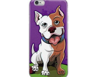 Pit Bull iPhone Case Cute Cartoon Art Pit Bull Purple iPhone 6, 7, 8, 6S, X, 6 Plus, 7 Plus, 8 Plus Phone Case Gift For Her Him Birthday