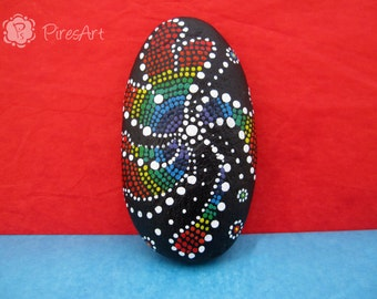 Painted rock, dotting art rock, dot flower stone, decorated rock, colorful painted rock, reggae painted rock, art paperweight, office gift