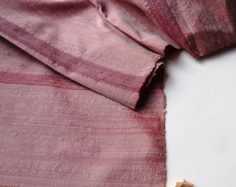 Dusty Purple Silk Tsumugi Kimono Fabric unused bolt by the yard Rustic Abstract Stripes purple, pink, and cream 100% Silk OFF the bolt