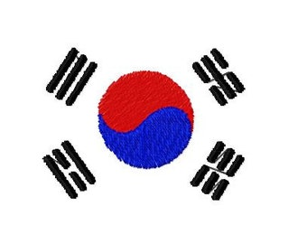 Buy 1 Take 1 Embroidery Design, Korean Flag Machine Embroidery Design, Instant Download, Fits 4x4 Hoop Size,  9 Formats