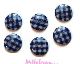 Set of 8 dark blue gingham card scrapbooking embellishment buttons *.