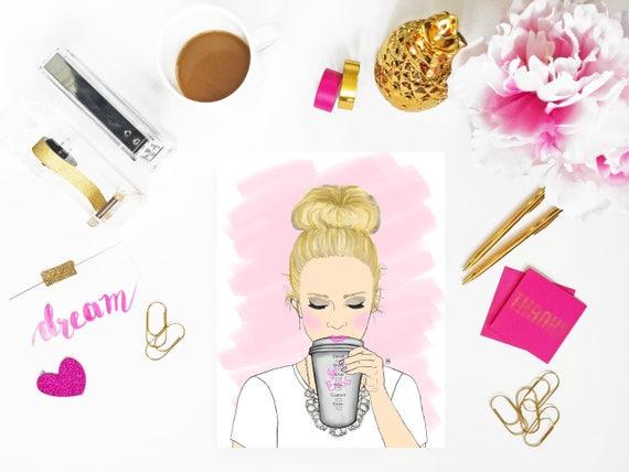 Print of original girl boss, coffee lover illustration, Girl Boss Art, Bossy Babe Art, Coffee Lover Art,  girl boss print, custom girlboss