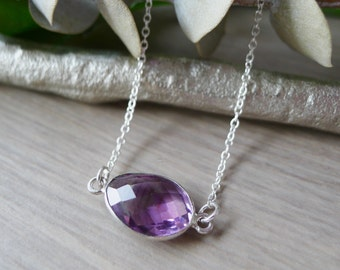 Sterling Silver Amethyst Necklace, Rose Cut Amethyst Necklace, Amethyst Jewelry, Oval Necklace, Circle Necklace, Purple, February Birthstone