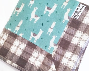 Llama Baby Blanket, Flannel blanket, security blanket, lovey blanket, nursing blanket, baby gift