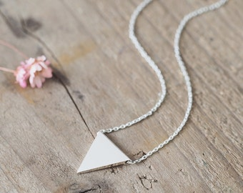 Flag triangle Necklace 925 Sterling Silver Minimalist Jewelry