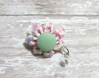 Pink and Green Floral Retractable Badge Reel, Lanyard, ID Holder, Badge Holder, Kanzashi Badge Reel, Badge Lanyard, Auburn
