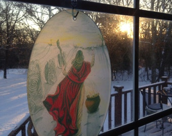 Winter Solstice at Dawn Glass Suncatcher