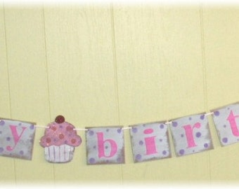 Happy Birthday Cupcake Banner Garland Shabby Chic Pink With Lavender Polka Dots Custom Wood Sign