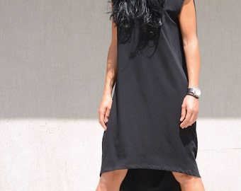 Elegant black dress, plus size loose draped tunic, women's cotton mini dress, knee length, black dress, oversized casual maxi dress
