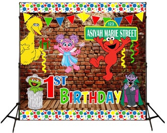 Sesame Street Party 8x8 Foot Backdrop/Banner Step and Repeat|Digital|Printed & Ship|Sesame Street theme