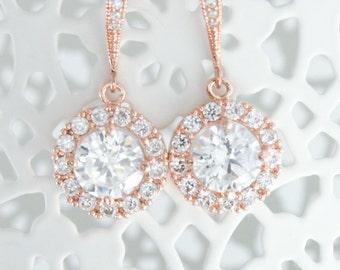 Bridal earrings,Rose gold earrings,Rose gold drop earring,Rose gold bridal earrings,Bridal jewelry,Rose gold bridal jewelry,CZ earrings