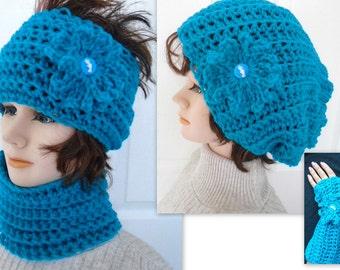 CROCHET PATTERN - Sale - crochet patterns for women- for kids - slouchy hat, cowl, headband, fingerless gloves, flower - 5 piece set, #847